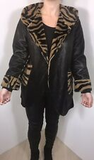 Faux Fur Coat Black Faux Leather with Hood Luxurious One Size 12 14 16 NEW