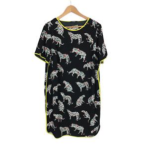 George Size 18 Black Leopard Print Short Sleeve Knee Length Lightweight Dress