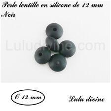 Perle lentille en silicone de 12 mm, lot de 10 perles : Noir