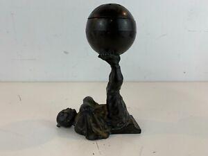 Antique Bronze Asian Figural Decorative Censer of Man Balancing Ball on Feet