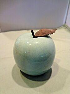 "Ceramic Apple Figurine - Metal Leaf - 4 1/4"" H - Pale teal green - Crack finish"