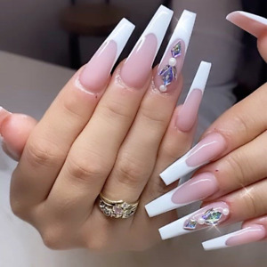 French White Tips Fake Nails with Rhinestones Extra Long Coffin Press On Nails