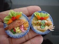 Set of 2 Seafood on Plates Dollhouse Miniatures Food Supply Deco Barbie Set 2