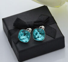925 SILVER EARRINGS STUDS MADE WITH SWAROVSKI CRYSTALS FANCY STONE- L.TURQUOISE