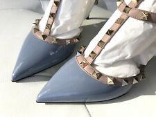 valentino Rockstuds Grayish Blue Patent Leather Low Heel Sandals 37.5