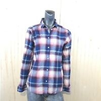 American Eagle Women Small Blue Pink Flannel Plaid Boyfriend Fit Shirt Top