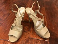 8051bf6e05 Yves Saint Laurent YSL Gray Leather Slingback Heels, Size 10.5 (US) 40.5 (