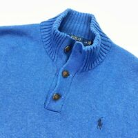 Polo Ralph Lauren Men's Knit Sweater Button Mock Neck Bright Blue • LARGE