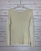 Sundance Catalog Women's Sz S Small Ivory Sheer Cotton Blend Cute Spring Sweater