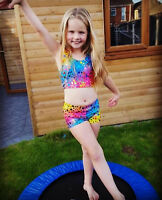 Kids Tops Girls Crop Top and Shorts Tankini Vest Mermaid Swim Dance Top All Ages