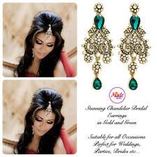INDIAN Bollywood Oro Cristallo Goccia Dangle Orecchini Lampadario da Sposa Oro Verde