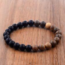 Agate Stone Wooden Beads Fashion Handmade Elastic Bracelets Jewellery Xmas Gifts