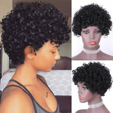 Fashion Lady Brazilian Real Human Hair No Lace Wig Natural Pixie Cut Kinky Curly