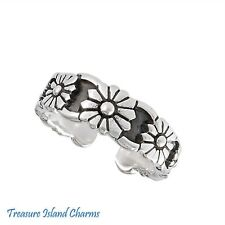 Silver Adjustable Toe Or Pinkie Ring Daisy Flowers Floral .925 Solid Sterling