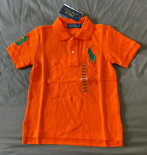 Toddler Boy Size 3 3T Polo Ralph Lauren Orange Large Logo Mesh Logo T-Shirt
