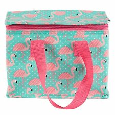 INSULATED LUNCH BAG - PINK FLAMINGO - PICNIC COOLER TRAVEL TOTE WATERPROOF