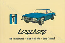 1979 DE TOMASO LONGCHAMP USO E MANUTENZIONE OWNER'S MANUAL HANDBOOK IT / GB / FR
