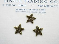 "3 Vintage Dark Gold Metallic Bullion Stars Applique 3/4"""