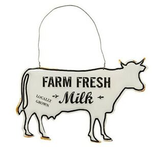 FARM FRESH MILK~ Cow Ornament Distressed Embossed metal Farmhouse