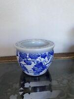 "Vintage Blue White Grapes Vine Leaves China Ceramic Pot Planter 4.5"" Chinoise"