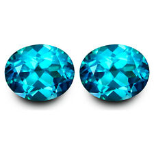 8.86Cts Classic Natural Paraiba Color Topaz Oval 11x9mm Matching Pair Gemstones