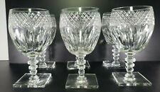 Art Deco Hawkes Donisel Crystal Stemware Square Cut Bases Wine Glasses Set 6 ABP