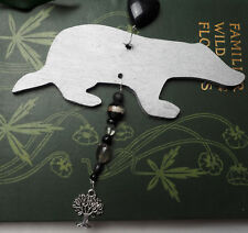 Silver Badger Yule Decoration - Pagan, Wicca, Winter Solstice, Christmas, wood