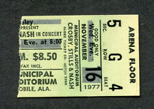 1977 Crosby Stills & Nash concert ticket stub Mobile Al Csn Just A Song Before