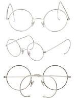Retro mens Antique Vintage Round Gold Silver Wire Rim Eyeglass Frames Spectacles
