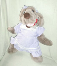 GANZ WRINKLES STUFFED PLUSH SHAR PEI PUPPY DOG GIRLPURPLE DRESS PUPPET 1981