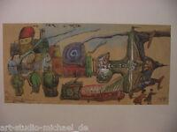 "Norddeutsche Künstler: Pit Morell:Offet-Lithografie ""Ort am Meer – 3 Reisende"""