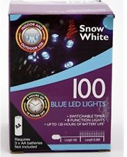 Blue 100 LED Outdoor Timer Lights With 8 Functions Christmas Battery Operate