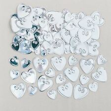 Embossed Silver Love Heart Confetti Valentines Party Table Decoration