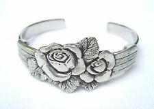 Bracelet Rose Bangle Vintage Pewter Love Flower Stainless Cuff Women No Stone