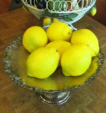 BEAUTIFUL LOT OF 6 VINTAGE ALABASTER FRUIT LEMONS WITH WOOD STEM #3