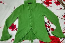 Principles Womens Frilly Cascading Cardigan Olive Green Wool Blend SIze Medium M