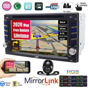 "Dual 2 Din 6.2""Car Stereo DVD CD GPS SAT Player HD In Dash Bluetooth Unit Camera"