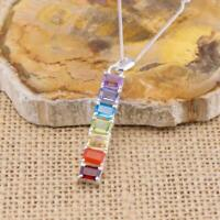 Chakra 925 Sterling Silver Bar Pendant Necklace Gemstone Jewellery N2
