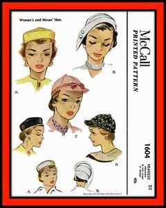 HAT Cap Fascinator Millinery RETRO McCall 1604 Vintage 1951 Fabric Sew Pattern