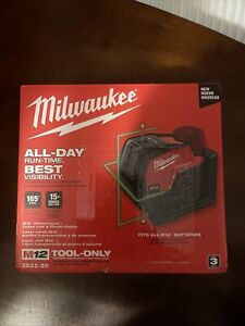 Milwaukee M12 165' Green Laser-cross Line And Plumb Points 3622-20