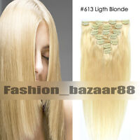 "HOT Clip in 100% Human Hair Extensions 15""18""20""22"" #613 Ligth Blonde Wholesale"