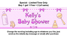 Baby Shower Pink Girl Party Banner, Personalised, Rattle Bottle Bow Toys