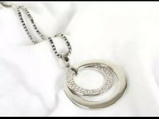 Crystal Rhinestone Long Necklace Silver toned