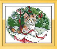 Un ludique Christmas Kitten Cross stitch kit 14 Ct Taille 20 x 17 cm Entièrement neuf sous emballage joie dimanche
