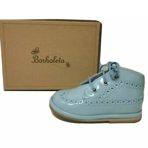 BORBOLETA Blue Patent Leather Shoes Boots Size 19 UK 3 Boy Girl Wide Fit NEW