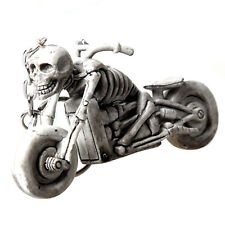 New Practical Plastic Light Gray Skull in Motorcycle Pendant Keychain Decor T6R7