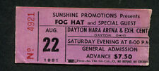 Original 1981 Foghat Concert Ticket Stub Dayton OH Fool For The City