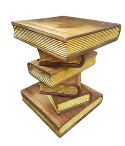 """Book Stack Table/Lamp Table/Plant Stand/Hand Carved/Solid Wood/Waxed Gold/ 16"""""""