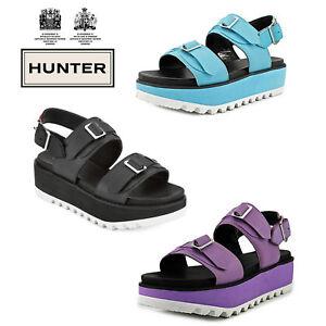 Hunter Women's Original Double Buckle Mid Flatform Sport Sandals Various Colours