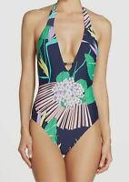 $295 Trina Turk Women's Blue Floral Plunge One-Piece Bikini Swimsuit Size 8